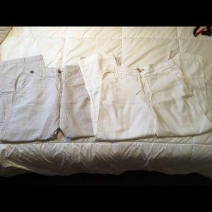 2 pair linen pants size 12